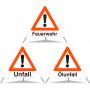 Faltsignal TFPD 1.30 Feuerwehr/1.30 Unfall/1.30 Ölunfall N70 (Kombiniert)