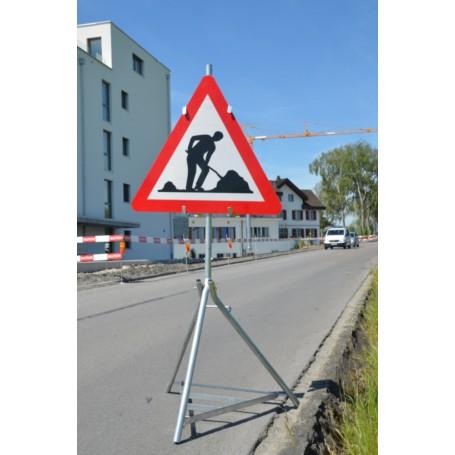 Signaltafelhalter mit Rost zusammenklappbar, Höhe ca. 1,6 m, Gewicht 10 kg (verzinkt) /exkl. Tafel