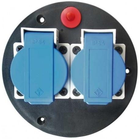 Steckdoseneinsatz-Montageplatte 2-Fach Ip 44 Mit Deckel